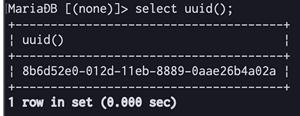 select uuid() 例