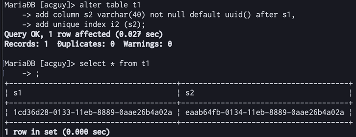 default uuid()カラム追加