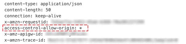 「Lambda プロキシ統合の使用」をOFFにした場合HTTPヘッダーを確認すると「access-control-allow-origin: *」がついていました。